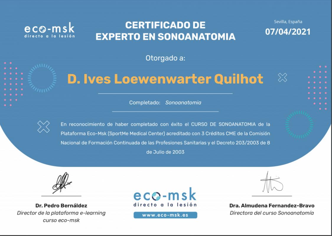 Certificado eco-msk SONOANATOMIA - Dr Ives Loewenwarter Quilhot